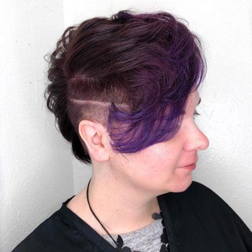 Dark Purple to Light Purple reverse ombre Pixie Cut