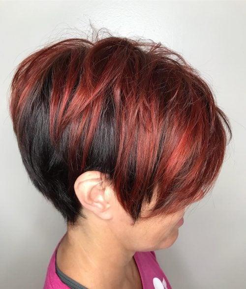 Dark Short Punk Hair with Dark Red Highlights