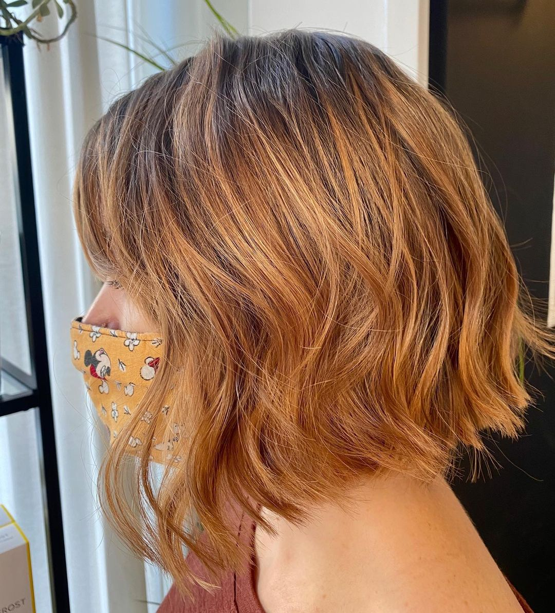 dark short hair with strawberry blonde highlights