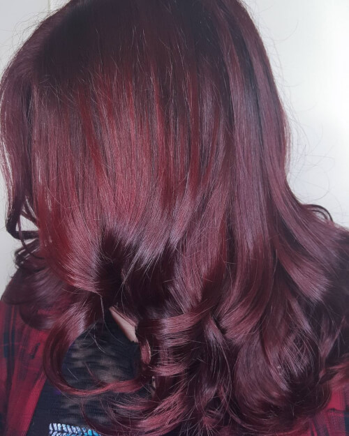 A Deep Burgundy Hair Color