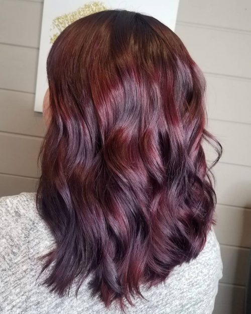17 Jaw Dropping Dark Burgundy Hair Colors For 2020,Bathroom With Subway Tile And Shiplap