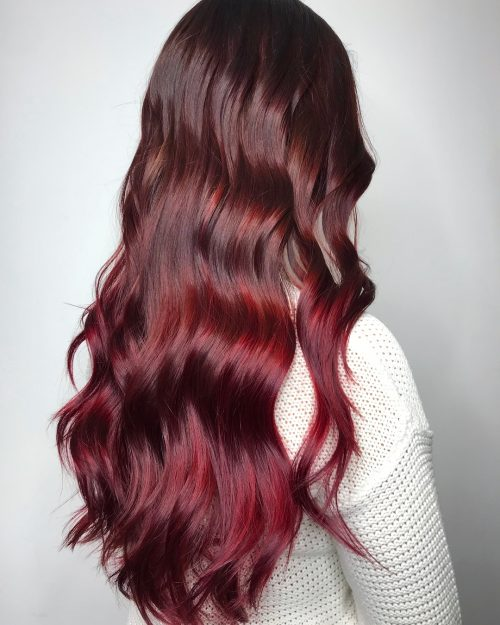 A deep red hair color