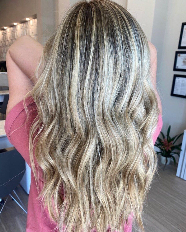 Dimensional champagne blonde hair