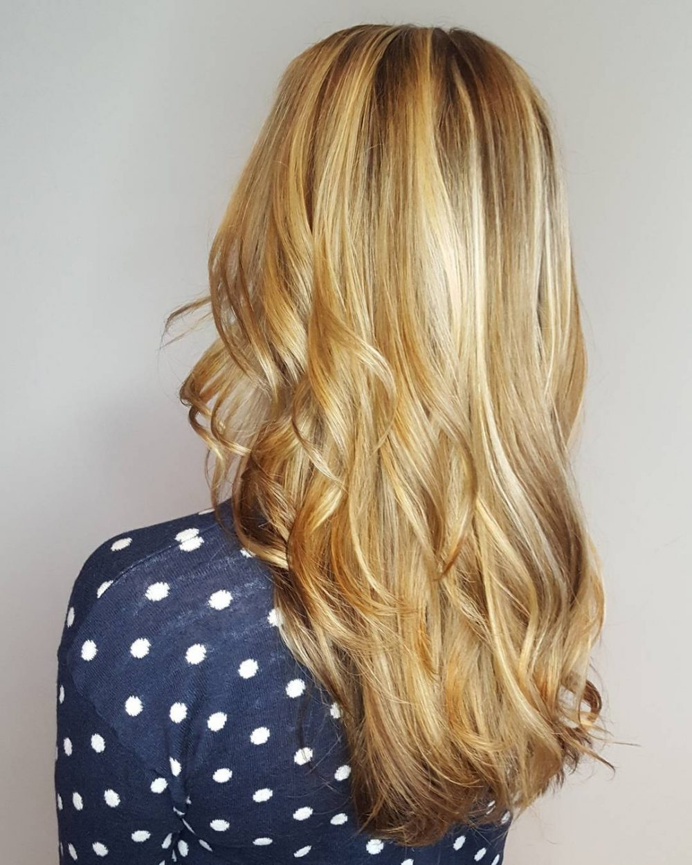 Dimensional Honey Blonde hairstyle