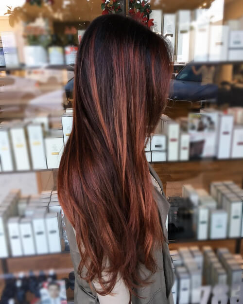 dimensional warm auburn hair color