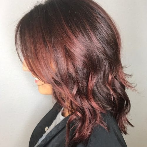 Dimensional Dark Plum Red hairstyle