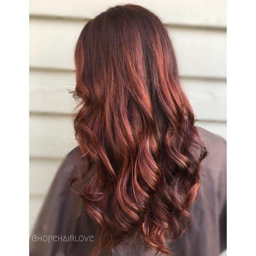 Dimensional Deep Red Balayage hairstyle