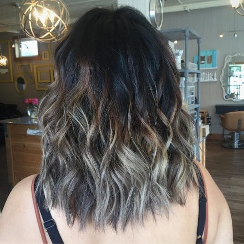 Dimensional Grey Highlights On Dark Brown Hair