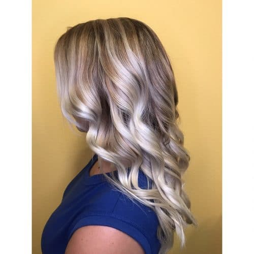 Dimensional Icy Blonde Waves hairstyle