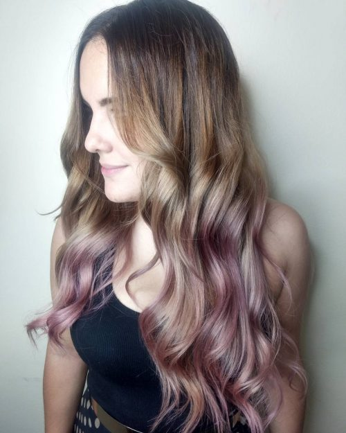 Picture of a dip dye purple rose gold hair