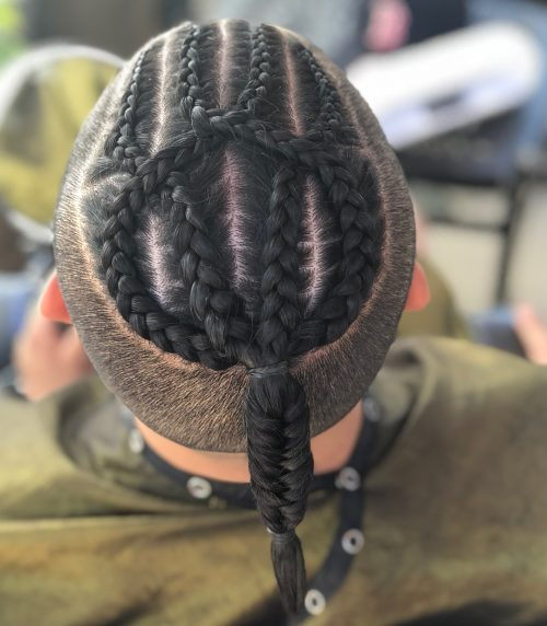 Disconnected haircut with fishtail braids