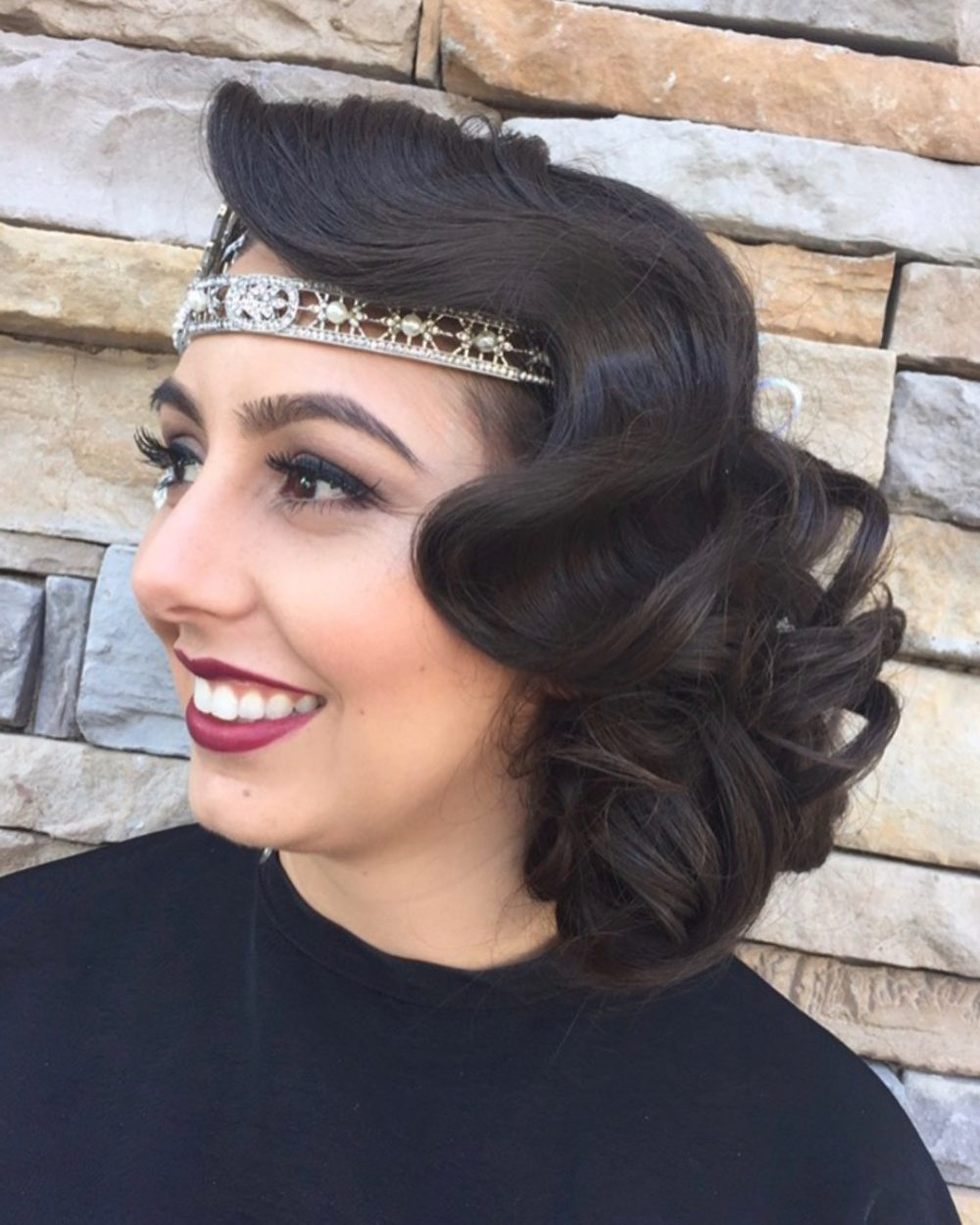Dramatic Finger Wave hairstyle