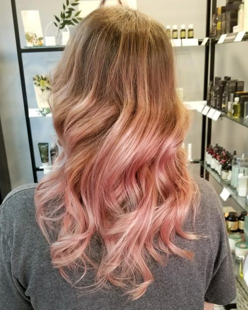 Picture of a dusty pink goddess long ombre