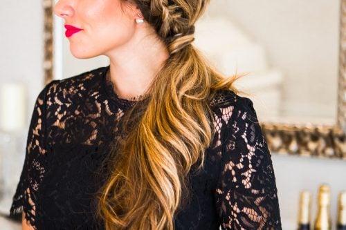 Dutch braid side ponytail
