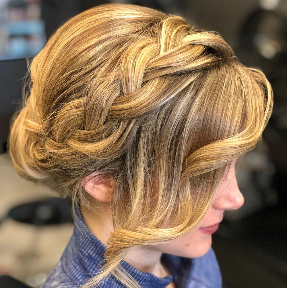 Dutch Headband Braid Into Elegant Bun hairstyle