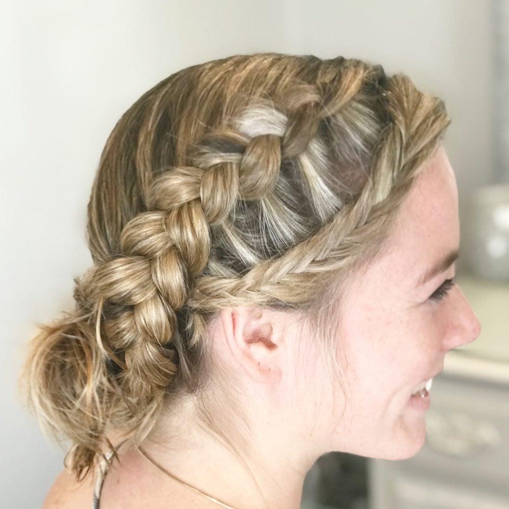 Dutch + Fishtail Braid into a Messy Bun hairstyle