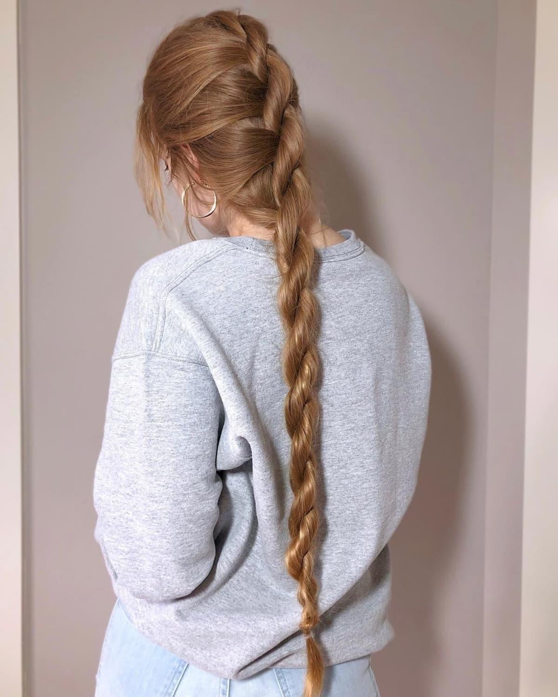 Cola de caballo trenzada de cuerda fácil para cabello largo y liso