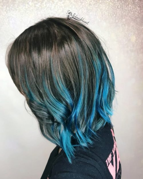 Picture of an edgy dip dye shoulder length blue ombre