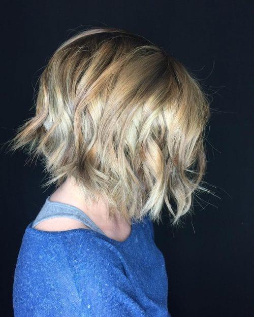 A short wavy layered bob haircut
