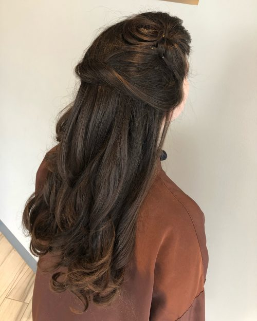 Picture of an elegant half up style for prom