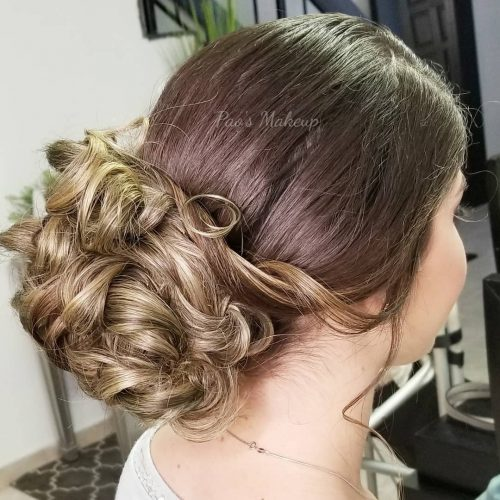 Picture of elegant long updo for prom