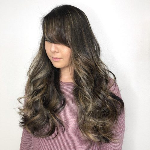 Elegant Side Swept Bangs for Long Hair