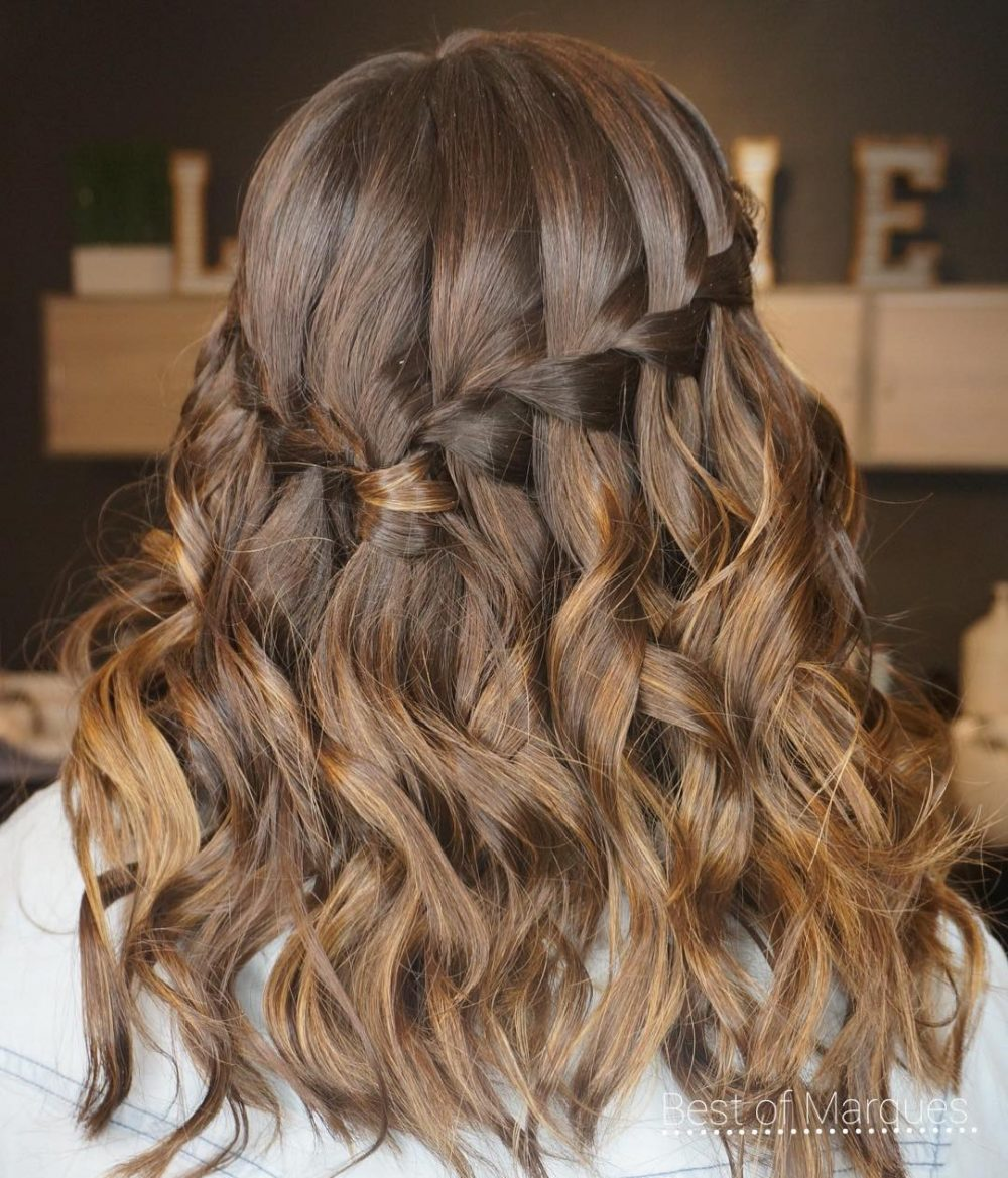 Elegant Waterfall Braid hairstyle