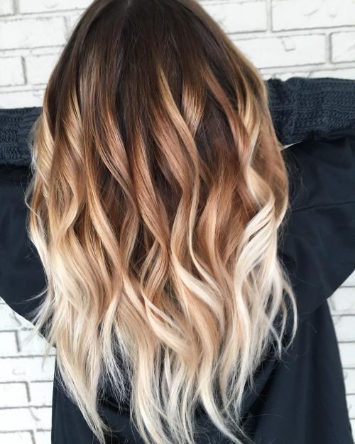 Platinum Blonde to Golden Brown Ombre