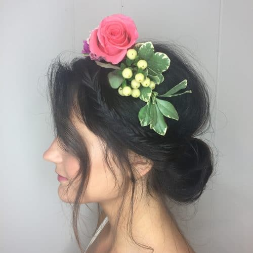 Ethereal Side Braid Updo with Flowers