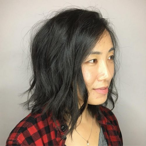 Picture of an exquisitely messy shoulder-length bob