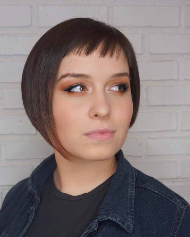 Face-Framing Asymmetrical Bob with Bangs Haircut