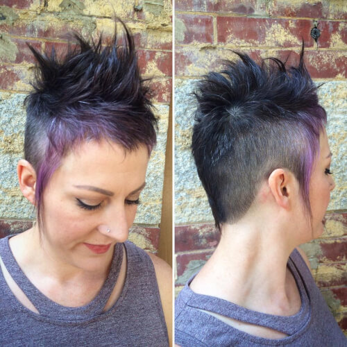 Faux-hawk fade with purple highlights