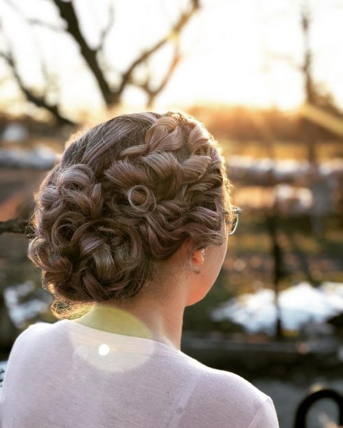 Picture of a fancy yet formal curly updo