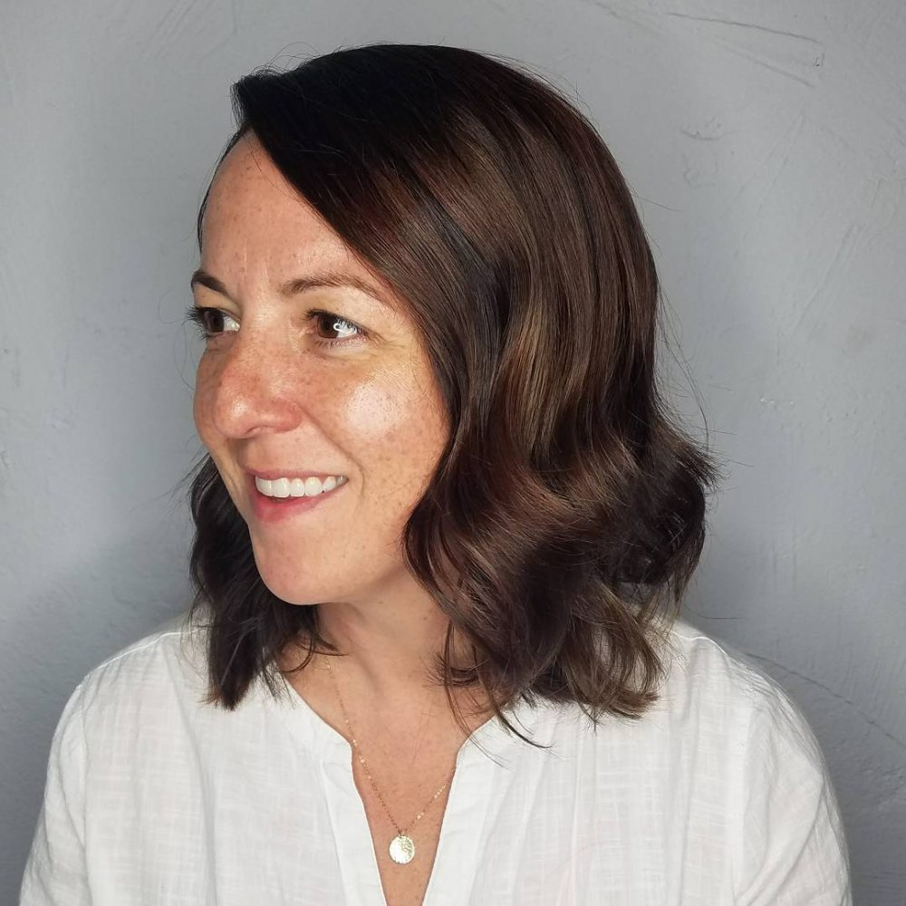 Feminine Layered Lob hairstyle