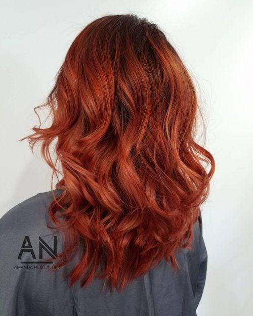 Fiery auburn hair color