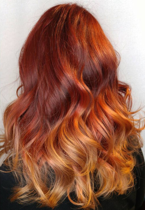 fiery ombre hair color