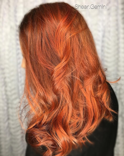Fiery copper red hair color