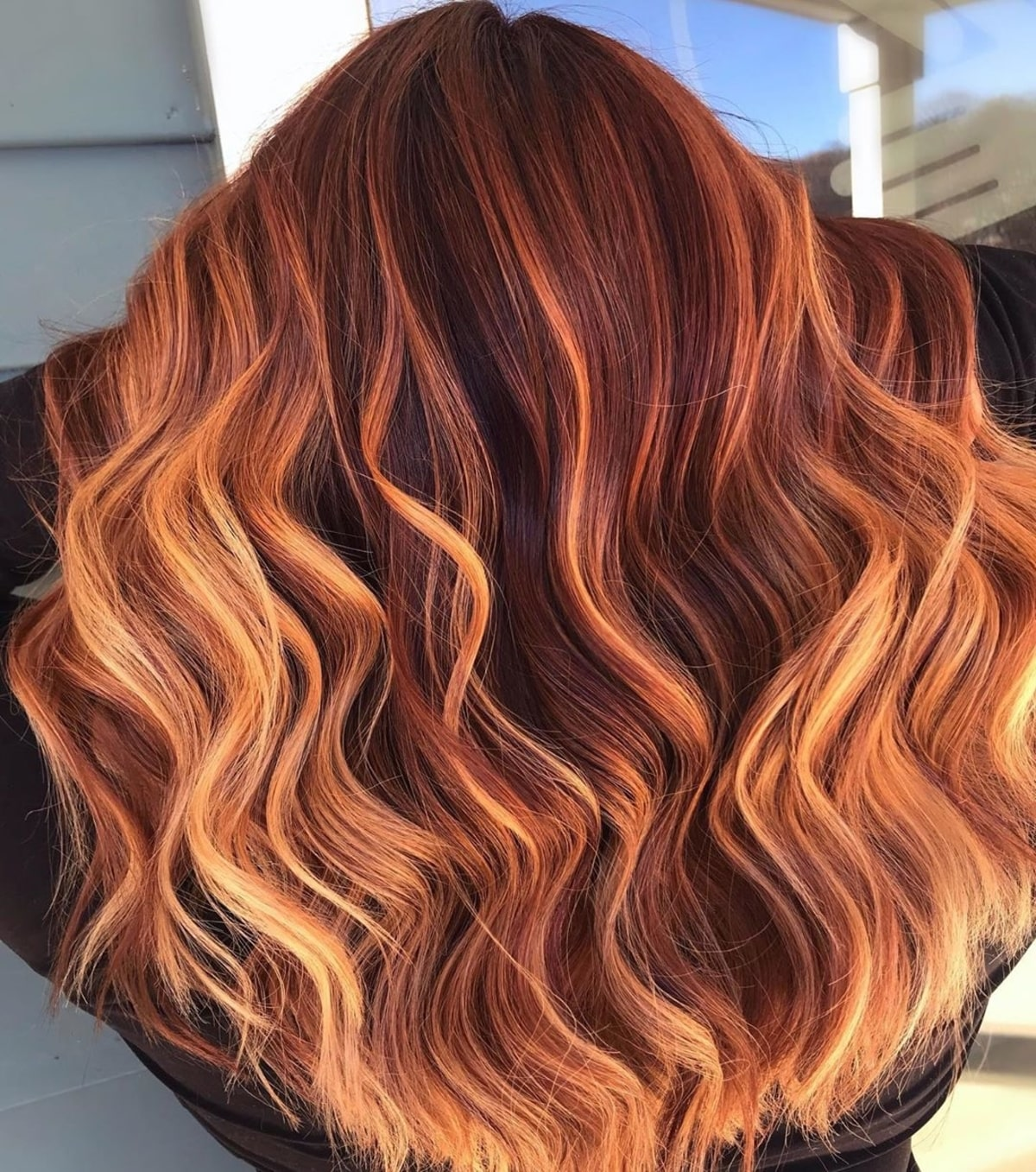 Fire Engine Red Hair With Blonde Highlights