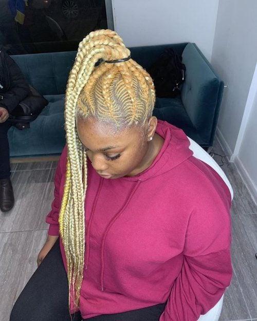 Fishbone Braided ponytail for black hair