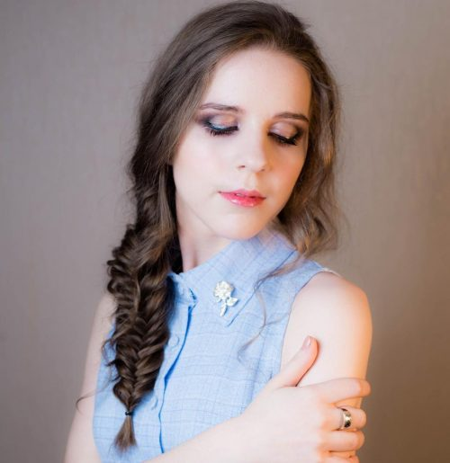 Picture of a fishtail braid party hairstyle