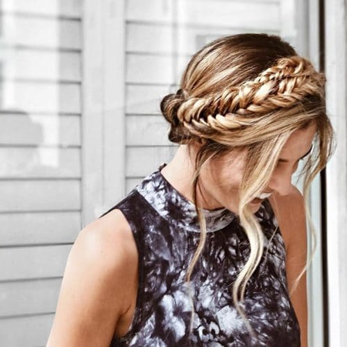 Fishtail Braided Crown Updo