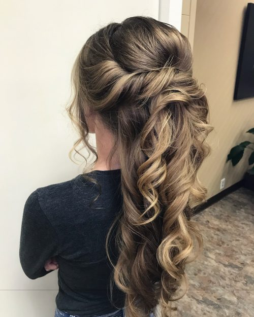 Picture of a flattering updo for thick hair