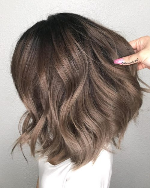 Picture of a flawless ash brown shoulder length hair