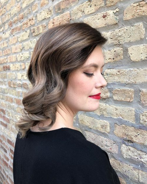 A shoulder length formal hairstyle