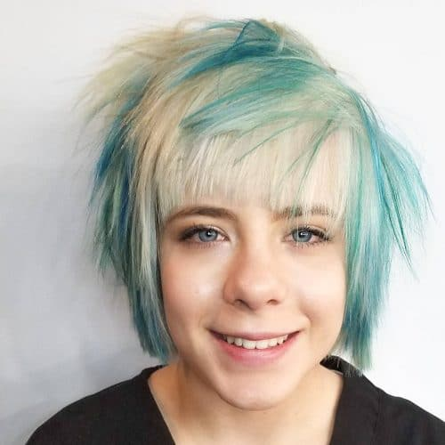 Wild short blue and blonde hair with texture