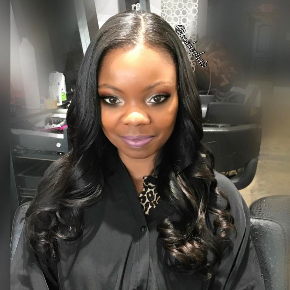 5abc128426 Full Sew-In with Body Curls hairstyle for a black girl