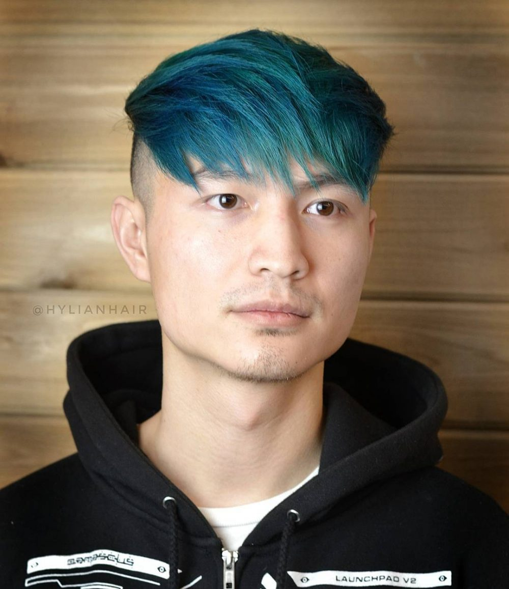 A fun and edgy turquoise and blue hair color