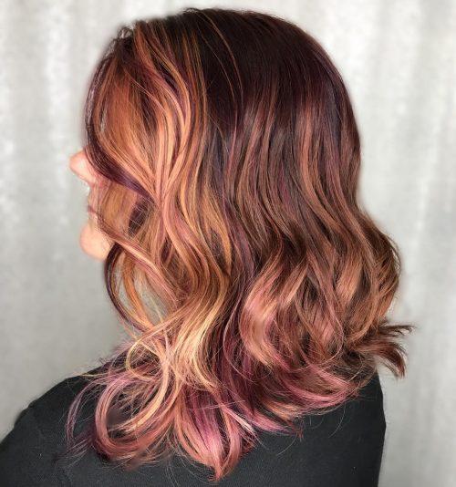 Fun purple highlights in brown hair