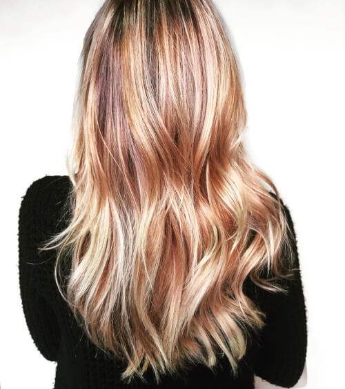 gilded rose rainbow hair color
