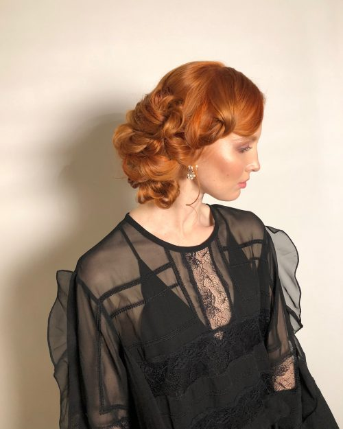 Picture of a gorgeous copper red updo
